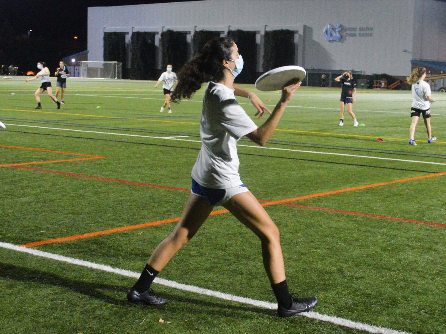 The Pleiades, a UNC Women's Club Ultimate Frisbee team began in-person practice again on Thursday Oct. 22, 2020 at Hooker Fields.