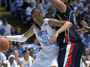 Freshman Chay Shegog normally provides a strong interior presence for UNC. Monday against UConn. a stifling defense stopped her cold.