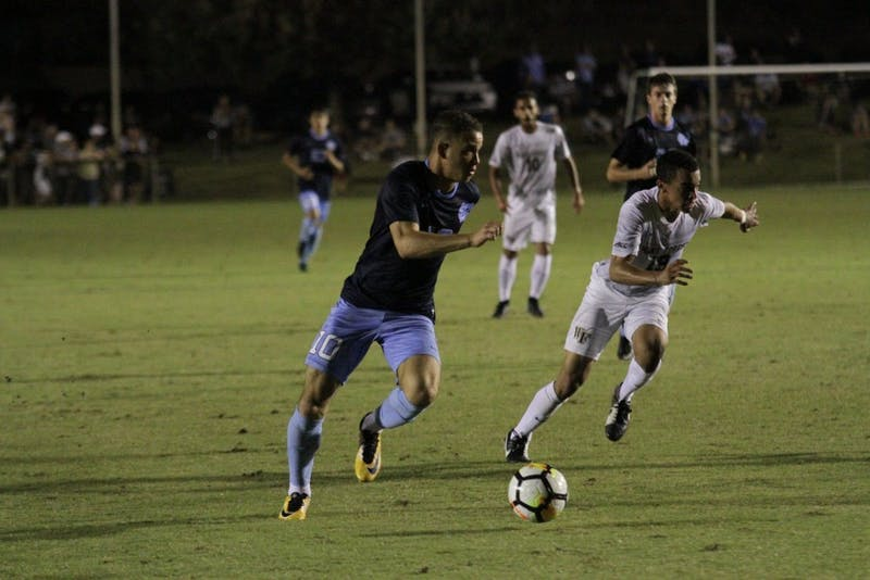 Senior forward Zach Wright (10) advances the ball against Wake Forest on Oct. 6.