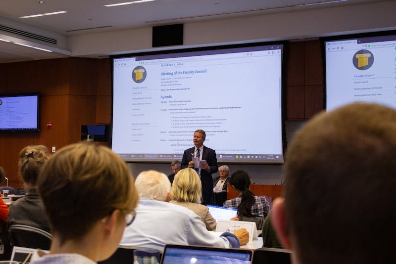UNC's interim chancellor Kevin Guskiewicz speaks before members of the faculty council during a meeting in Kerr Hall on Friday, Oct. 11th, 2019.