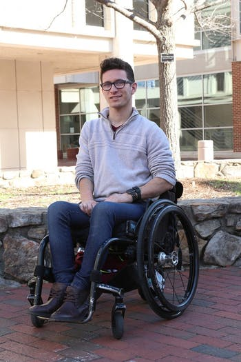 UNC student Chris Corsi is awarded the Ableflight scholarship, which allows individuals the opportunity to learn flight training over the summer.