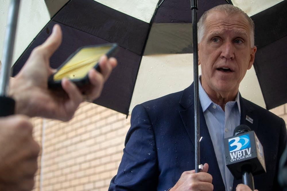 """When asked about a new COVID-19 stimulus bill, Senator Thom Tillis explains there is """"no question Congress will pass another coronavirus relief bill after the election"""" on Wednesday, Oct. 28, 2020."""