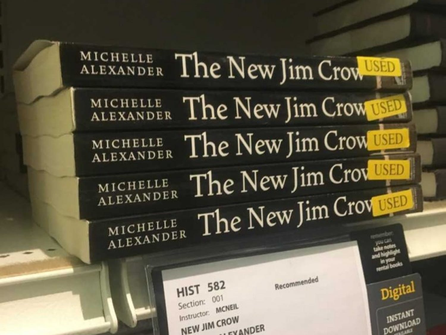 """""""The New Jim Crow"""" is for sale at the Student Stores. The book was banned by in North Carolina prisons until Jan. 23."""