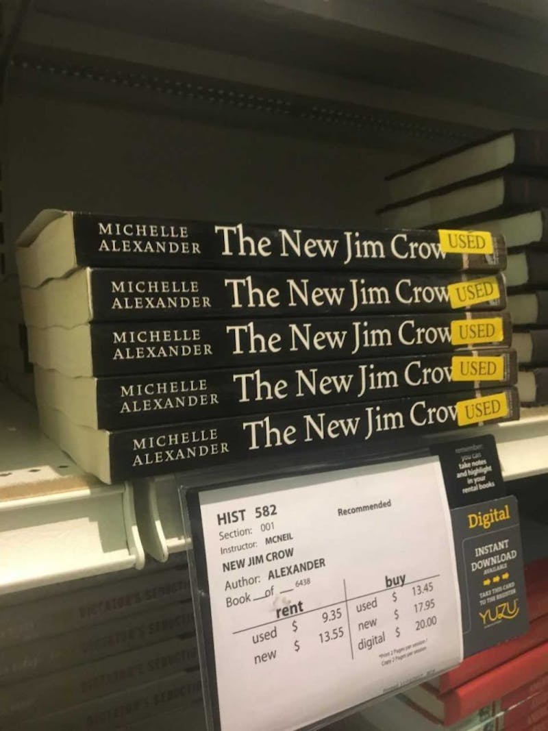 """The New Jim Crow"" is for sale at the Student Stores. The book was banned by in North Carolina prisons until Jan. 23."