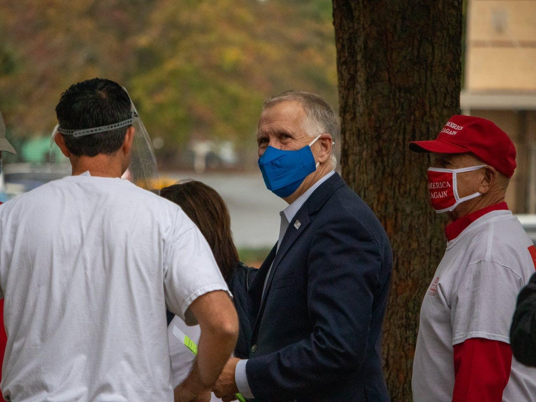 North Carolina Senator Thom Tillis greets supporters outside of the Cornelius Town Hall in Cornelius, NC, on Wednesday, Oct. 28, 2020.