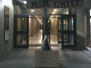 """R&R Grill, located at 137 E. Franklin St., put out a sign in front of the restaurant that reads, """"We will miss you, Dean."""""""