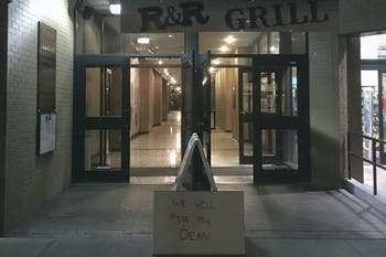 "R&R Grill, located at 137 E. Franklin St., put out a sign in front of the restaurant that reads, ""We will miss you, Dean."""