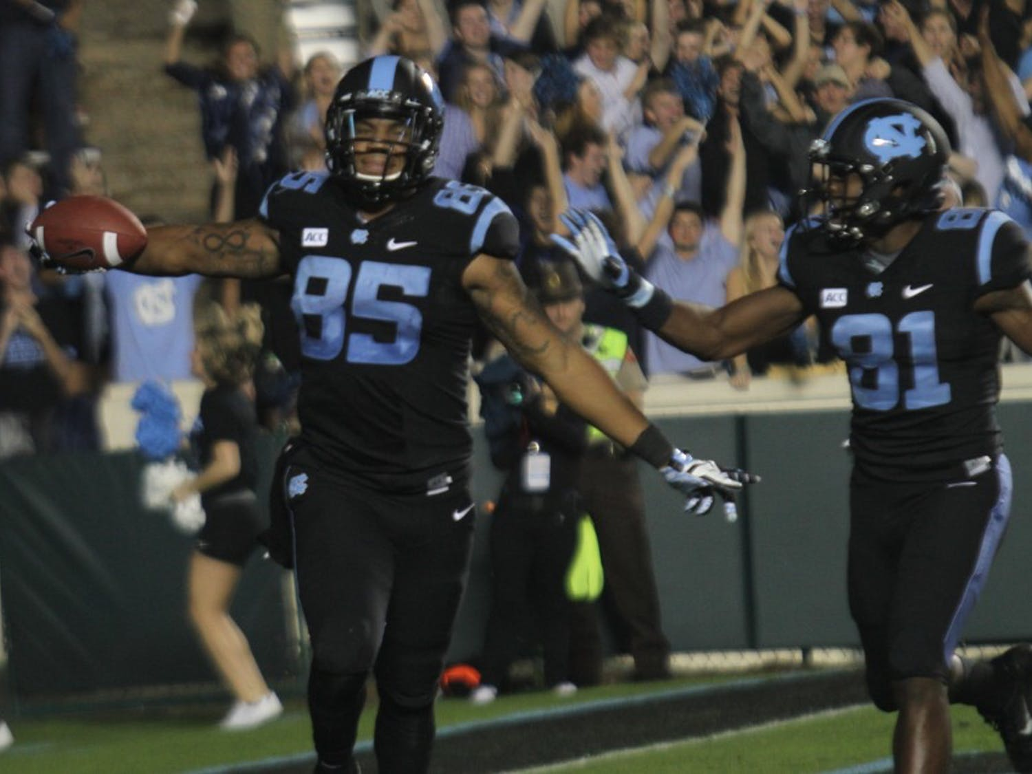 The UNC Tar Heels hosted the Miami Hurricanes at Kenan Stadium in Chapel Hill on Thursday, Oct. 17, 2013.
