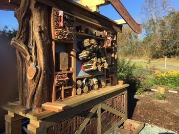 The bee hotel was unveiled Nov. 4 in Hillsborough. Photo courtesy of David Hinkle, artist of the hotel.