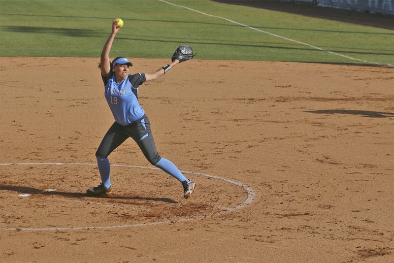 Freshman pitcher Kaylee Carlson pitched a complete game against Virginia Tech in game one of a doubleheader.