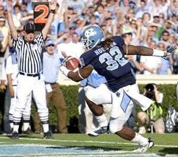 "Sophomore back Ryan Houston had a career game Saturday"" ending with two touchdowns on 74 yards added to Shaun Draughn?s 90. UNC?s backfield pair took their dual rushing threat roles to heart with ?thunder? on Houston?s eye black and ?lightning? on Draughn?s."