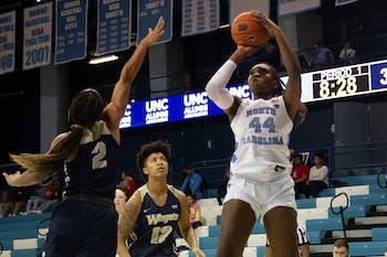 Junior center Janelle Bailey (44) shoots a free throw during the exhibiton game against Wingate in the Carmichael Arena on Saturday, Nov. 2, 2019. UNC won 82-37.