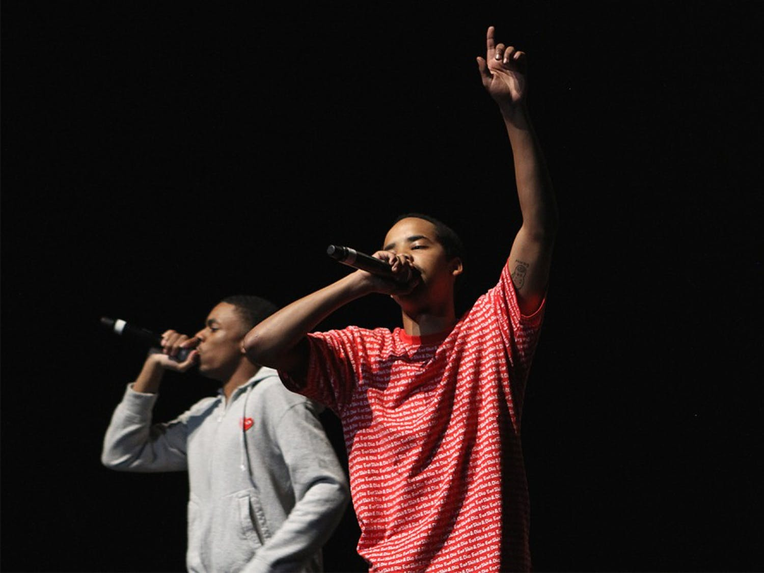 Earl Sweatshirt (in red) and Vince Staples (in gray) performed in UNC's 2014 Homecoming Concert at Memorial Hall on Wednesday. Sweatshirt is known as part of the alternative rap collective Odd Future Wolf Game Kill Them All.