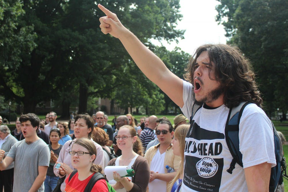 Protesters marched to Folt's office to oppose privatization of UNC Student Stores