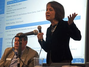 """Chancellor Carol Folt answers question Friday afternoon during the Faculty Governance meeting about Tom Ross's resignation. """"As a university I think we have a real opportunity to talk about what's important in a president of a system,"""" she said."""