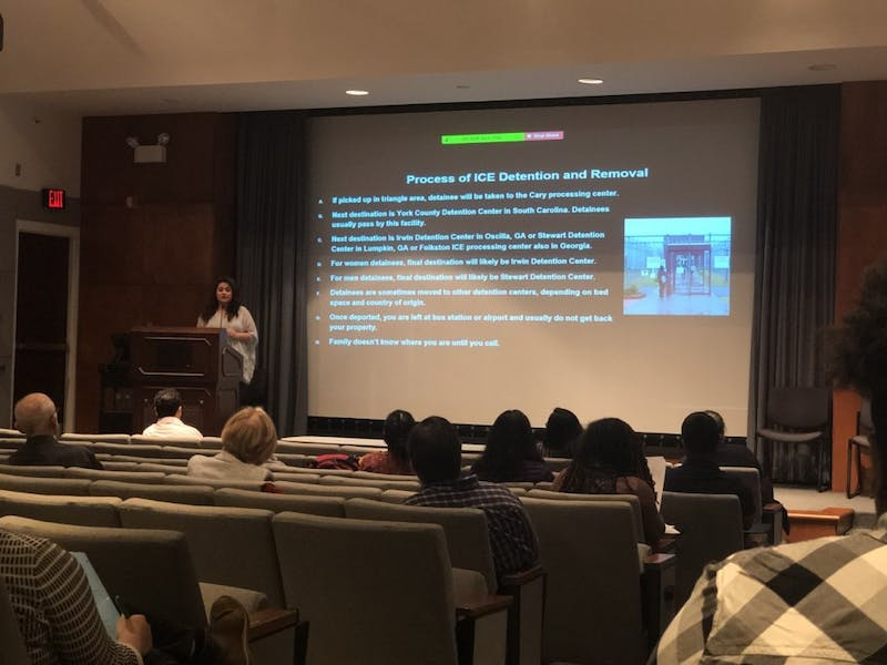 Viridiana Martinez, founder and director of Alerta Migratoria, a community for North Carolina refugees and immigrants, advises social work students and faculty. Martinez was one of three panelists on the ethics, access, equity and advocacy of serving non-citizens.