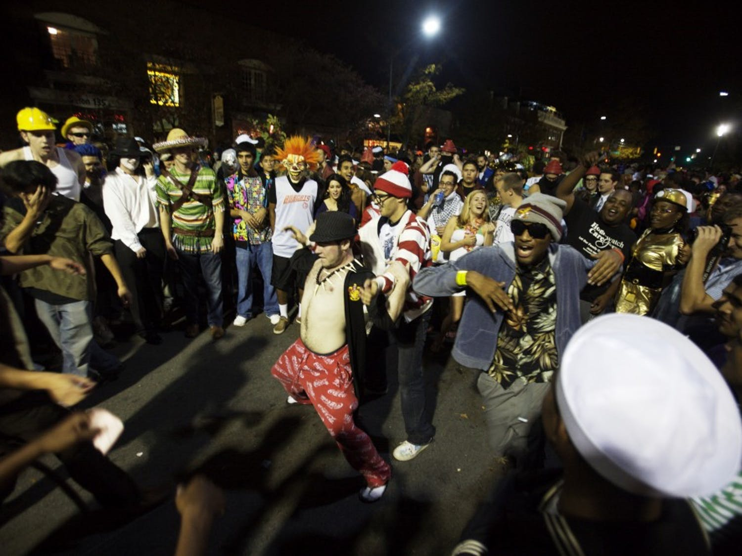 A crowd celebrates Halloween on Franklin Street in 2009. Police will treat Saturday as Homecoming, and do not expect two Halloweens.