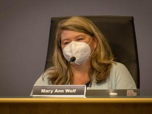 Mary Ann Wolf, member of the Chapel Hill-Carrboro City Schools Board of Education, pictured at the board's August 12 meeting.