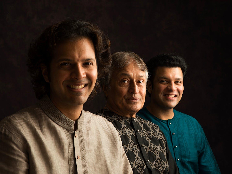 The Sarod players Amjad Ali Khan, Ayaan Ali Khan and Amaan Ali Khaan who will be performing at Memorial Hall. Photo courtesy of Suvo Das.