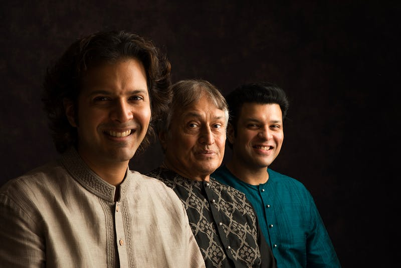 The Sarod players Amjad Ali Khan, Ayaan Ali Khan and Amaan Ali Khaan who will be performing at Memorial Hall. Photo courtesy of Suvo Das.