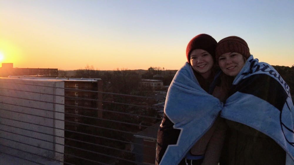 <p>Clarissa Ward (left) with her friend Kailie George at UNC. Photo courtesy of Abby Ward.</p>