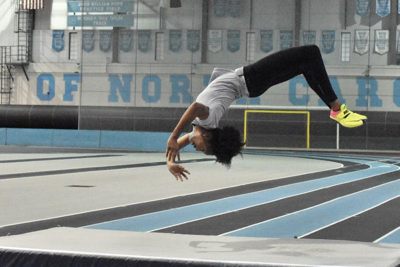 Nicole Greene, a sophomore and two-time NCAA championship-qualifier, practices for the high jump. She has made the Dean's List each of her three semesters at UNC.