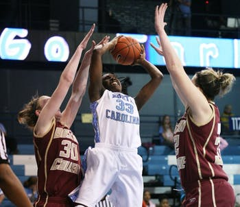 Laura Broomfield goes up for a shot in UNC's 69-62 loss to Boston College. DTH/Jessey Dearing