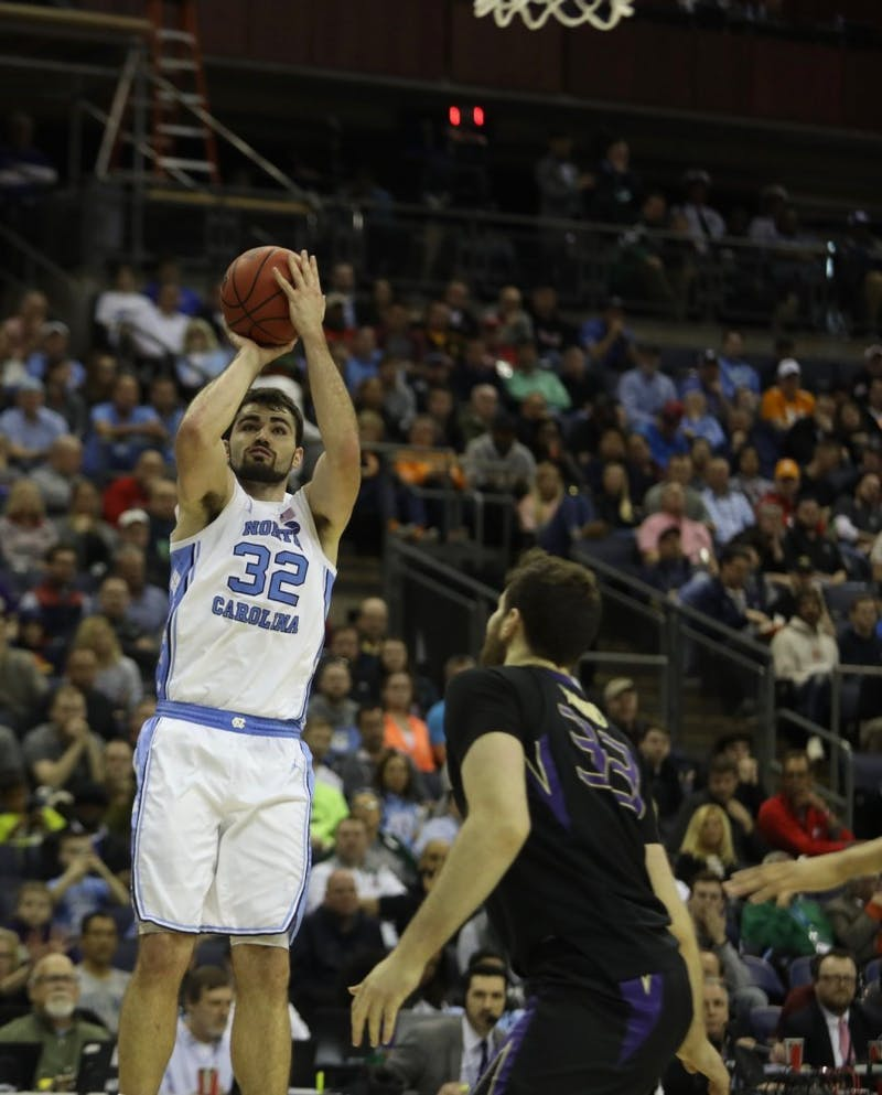 Senior forward Luke Maye shoots a jump shot in the first half against Washington in the second round of the NCAA Tournament at Nationwide Arena in Columbus, Ohio, on March 24, 2019.