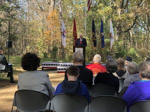 U.S. Rep. David Price, D-N.C. speaks during the Orange County Veterans Day event at the Orange County Veterans Memorial on Monday, Nov. 11, 2019.