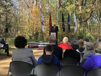 U.S. Rep. David Price, D-N.C. speaks during the Orange County Veterans Day event at the Orange County Veterans Memorial on Monday, Nov. 11, 2019.