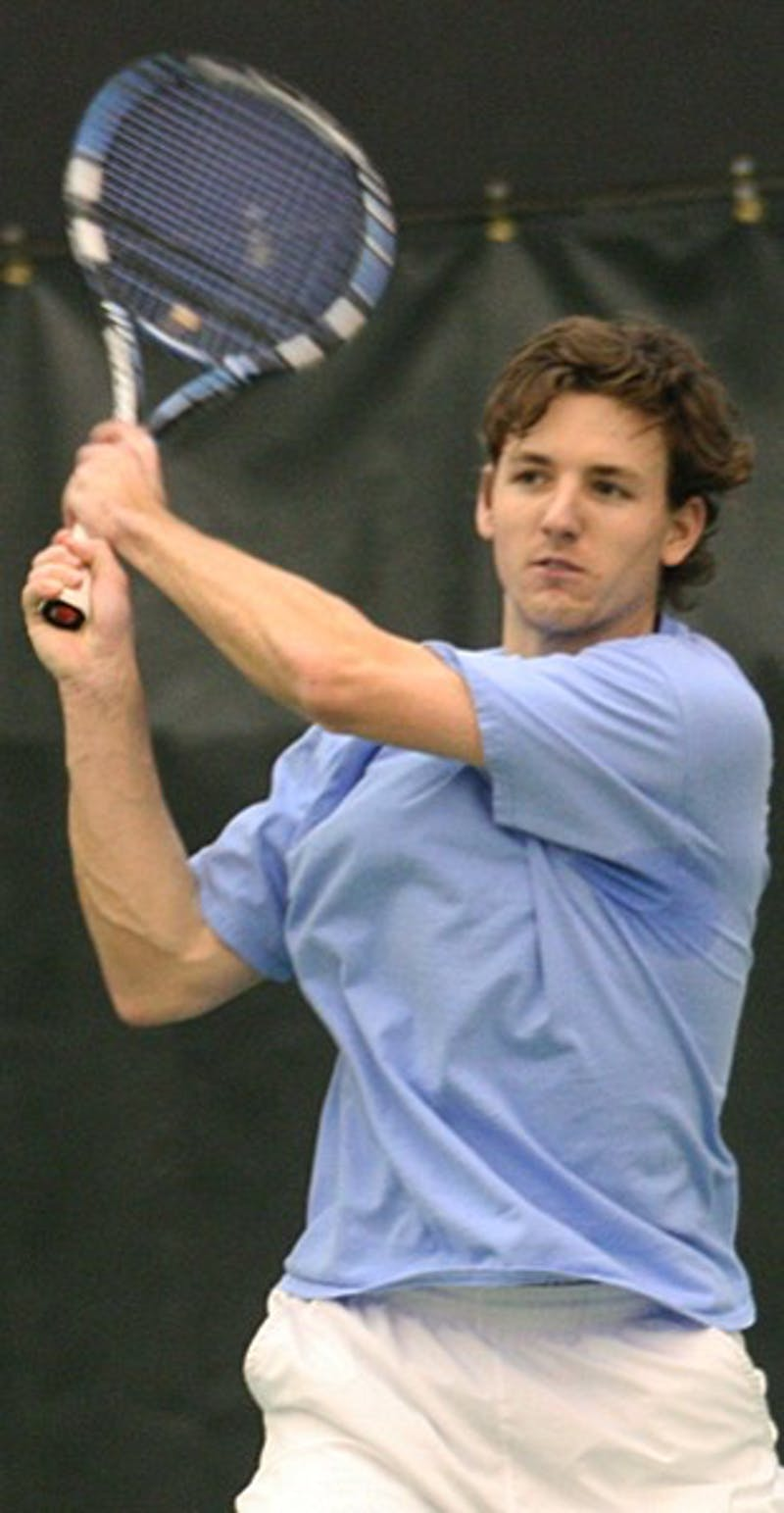 Kyle Baker struggled down the stretch of his first match this season, but he pulled it together for a win. DTH/Daixi Xu