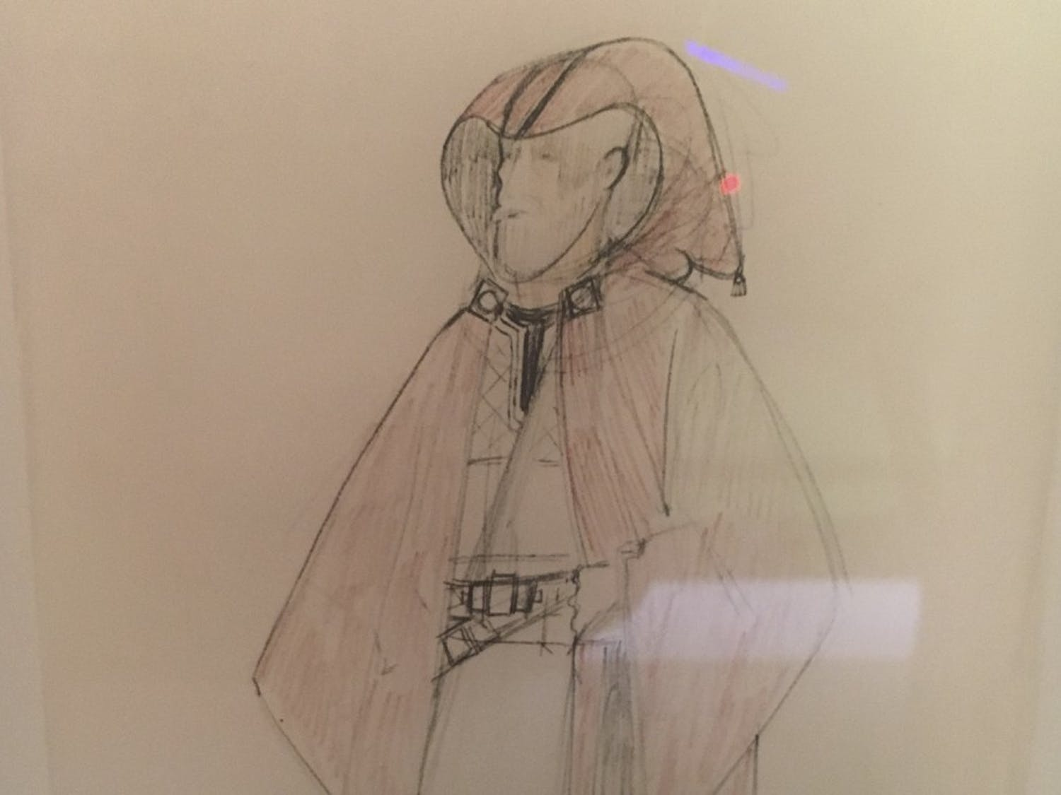 An early concept drawing for the robes for Obi-Wan Kenobi was displayed at a traveling exhibit at Discovery Times Square in New York City in August.