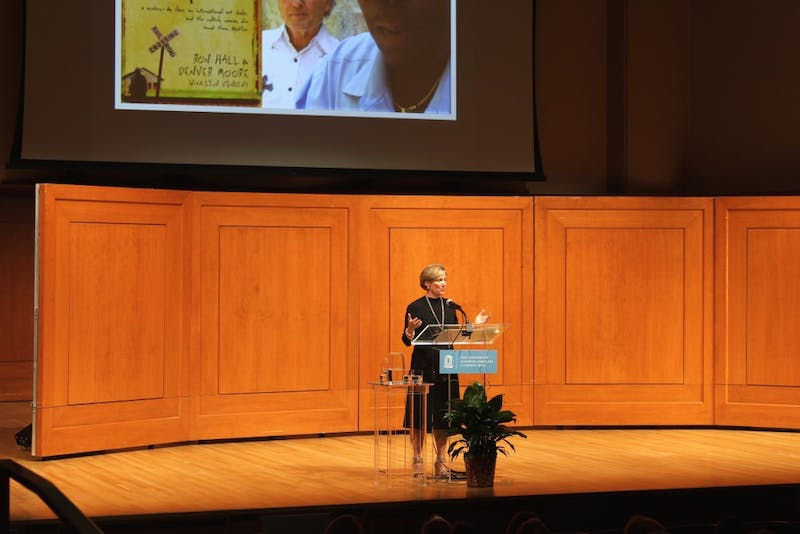 Kathy Izard, discussing her initial motivation for pursuing her work with the homeless. Izard was last year's Eve Carson lecturer.
