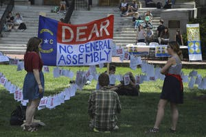 The ART 300 class held a petition signing station in Polk Place where students could write letters to the North Carolina General Assembly.