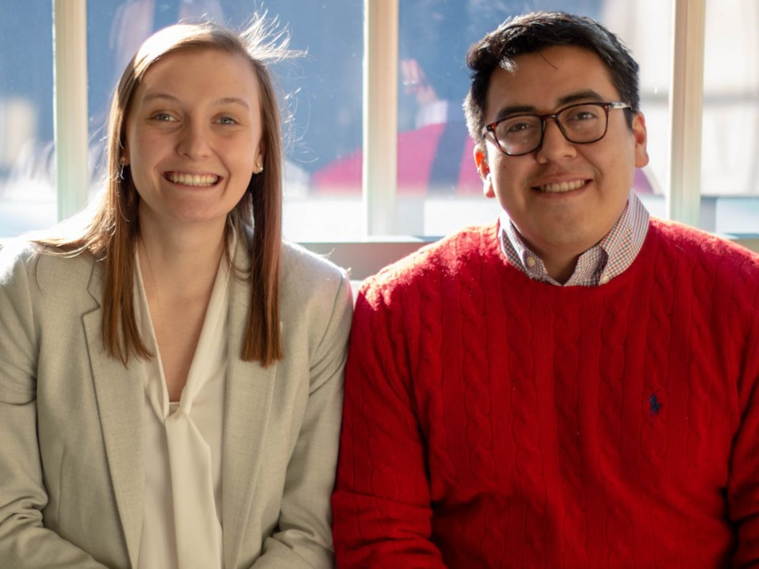 Student Body President Savannah Putnam (Left) and President of the Graduate and Professional Student Federation Manny Hernandez (right) in the Carolina Inn following a BOT meeting Thursday, Jan. 31, 2019. Both leaders recently commented on the departure of Chancellor Carol Folt.