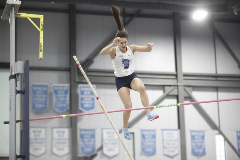 Anna Eaton, senior pole vaulter for UNC, knocks the bar down during the Pole Vault event in the Dick Taylor Carolina Cup at Eddie Smith Field House on Sat., January 12, 2019. Eaton went on to win the Pole Vault with a height of 4.10 meters.