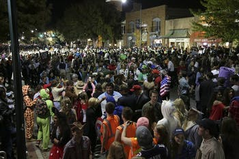 Part of the crowd for Halloween on Franklin St. in 2016.