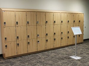 Thirty new lockers located on the bottom level on the Student Union are among some of the fall renovations. They are free to use.