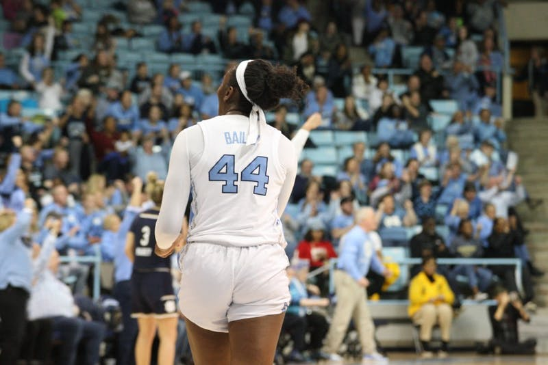 Sophomore center Janelle Bailey (44) celebrates with the crowd after a clutch UNC three pointer in an upset against No. 1 Notre Dame in Carmichael Arena on Jan. 27, 2019. UNC wins 78-73.