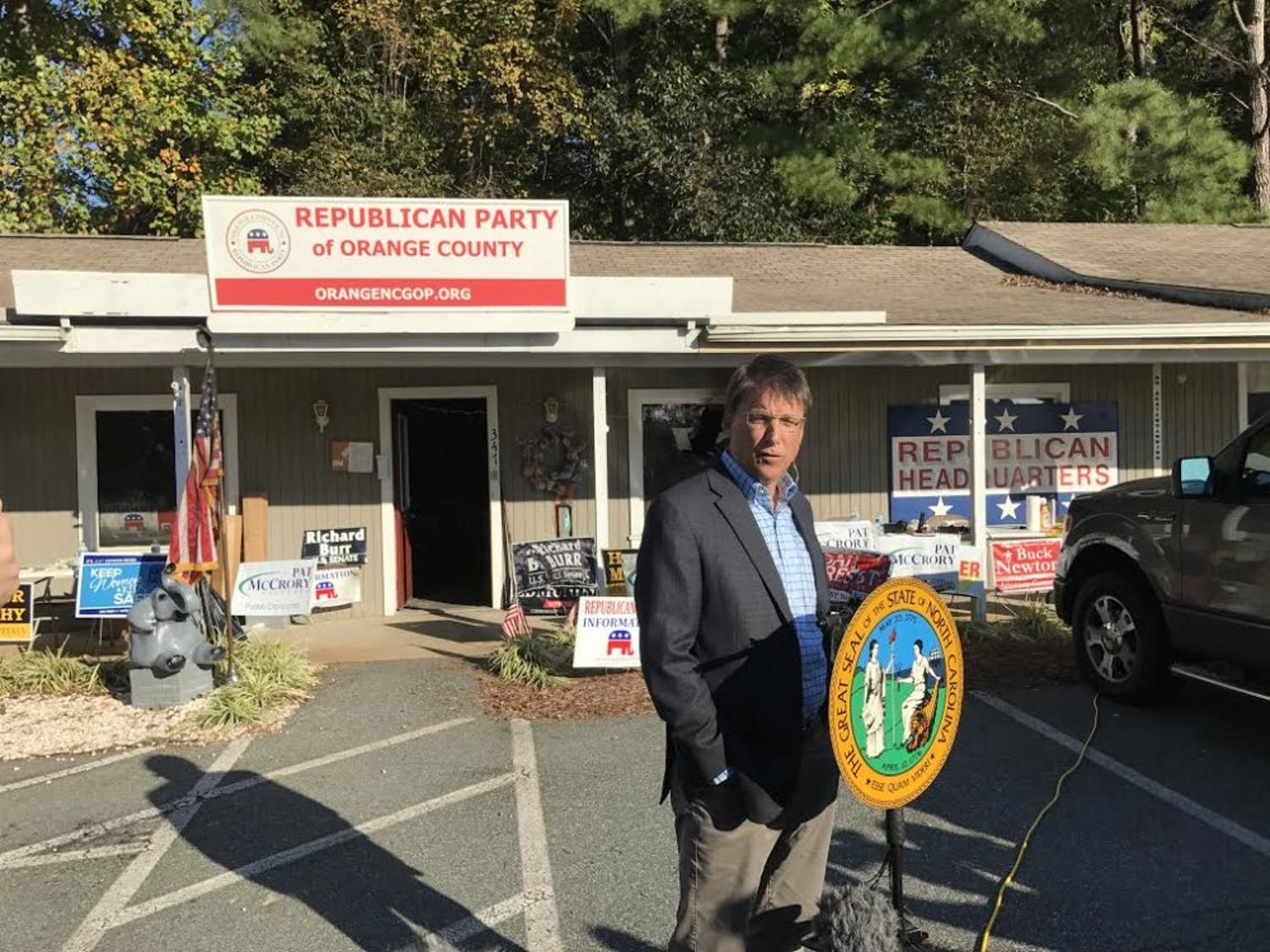 Governor Pat McCrory answers press questions and discusses the impact of the vandalism and firebombing incident on the upcoming election.