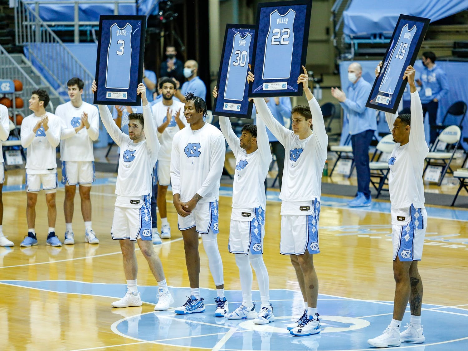 UNC men's basketball faced off against Duke at home at the Smith Center on Saturday, March 6, 2021. UNC finished their season with a sweep of the Duke team, defeating them 91-73. The game also served as senior night for Garrison Brooks, Walker Miller, KJ Smith, and Andrew Platek and marked the Tar Heels as the sixth seed in the ACC Tournament in Greensboro, N.C.