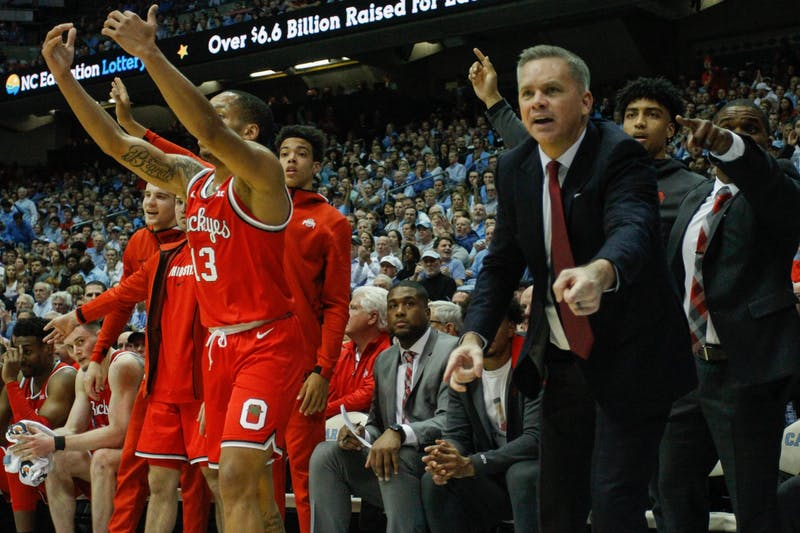 Ohio State head coach Chris Holtmann disputes a call with a referee in the game against UNC in the Smith Center on Wednesday, Dec. 4, 2019. UNC lost to Ohio State 74-49.