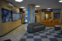 The lobby of Hinton James has been transformed into a haven for UNC.