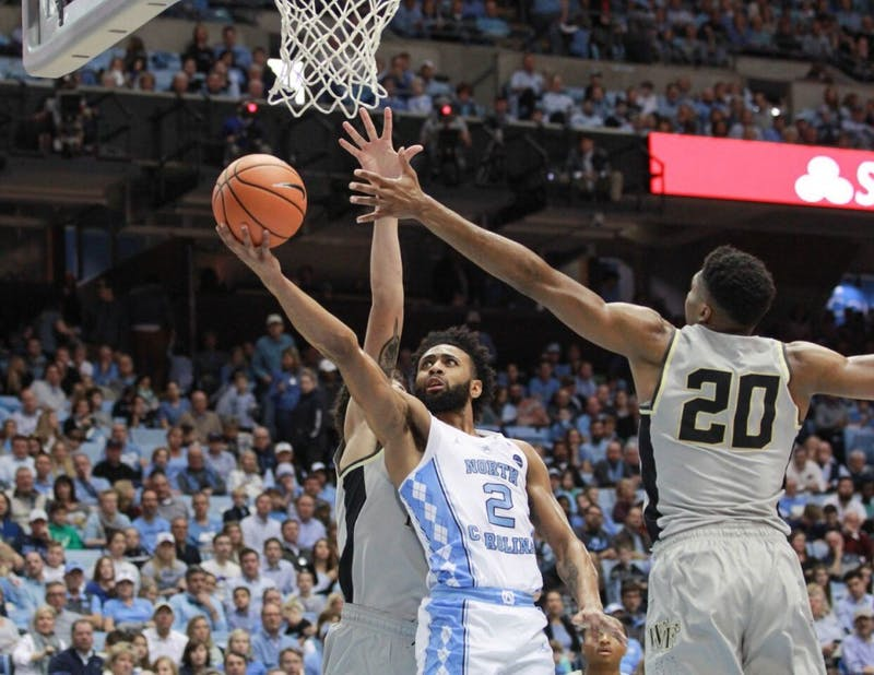 Guard Joel Berry II (2) takes a layup against Wake Forest on Dec. 30 in the Smith Center.