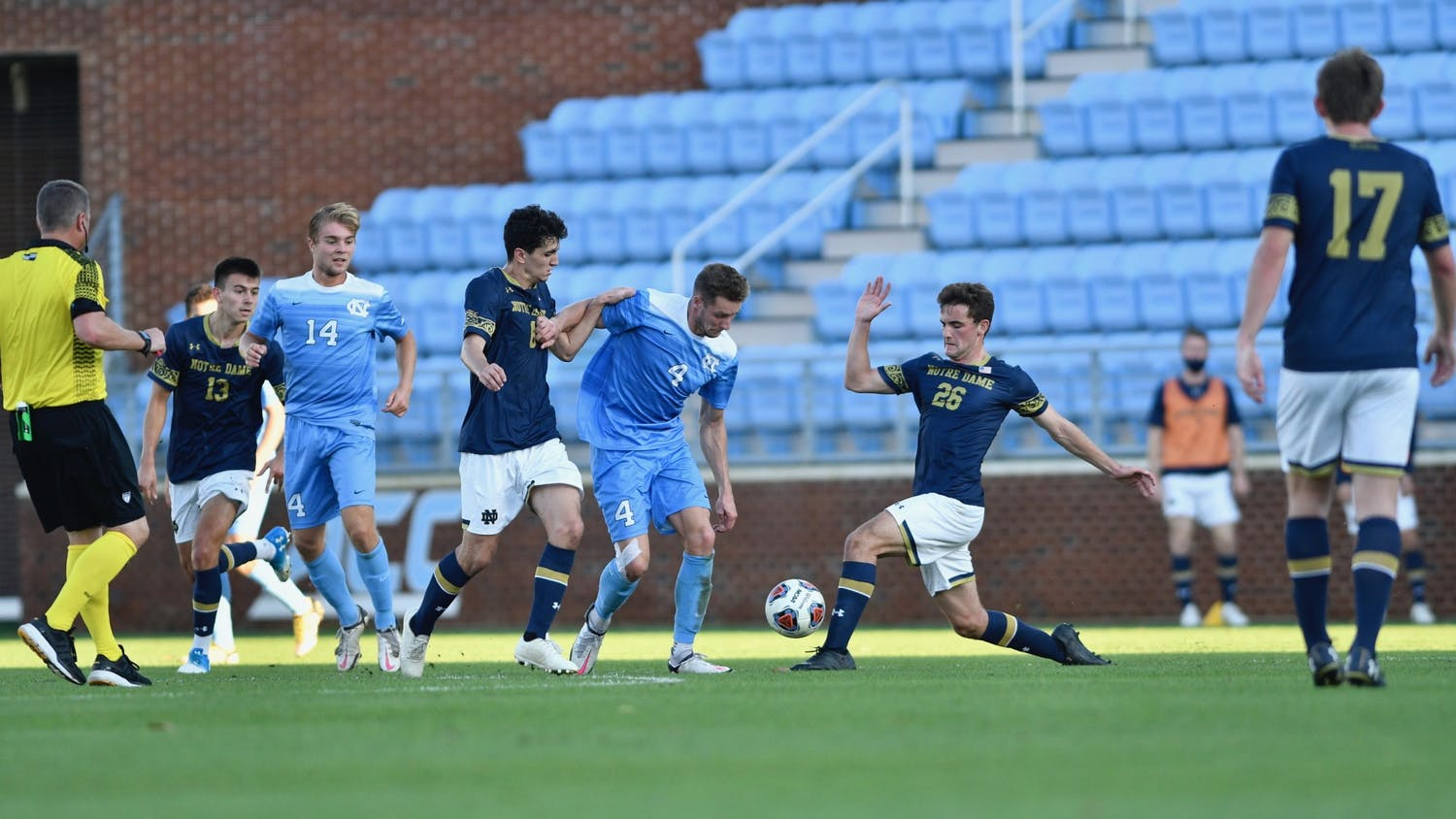UNC's men's soccer team faced off against Notre Dame in the first round of the ACC tournament on Sunday, Nov. 14, 2020 in Dorrance Field. UNC fell to Notre Dame 1-0. Photo courtesy of Dana Gentry for UNC Athletic Communications.