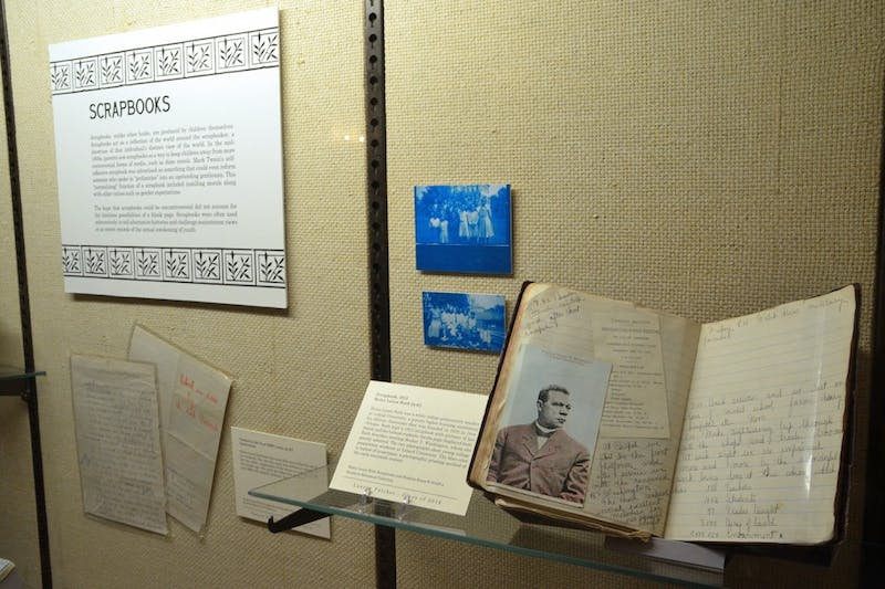 """A collection of scrapbooks made by children in the """"Corruption of the Innocents"""" exhibit at Wilson Library. The exhibit, which contains controversial British and American children's books, opens on Thursday and will be on display until Aug. 7."""
