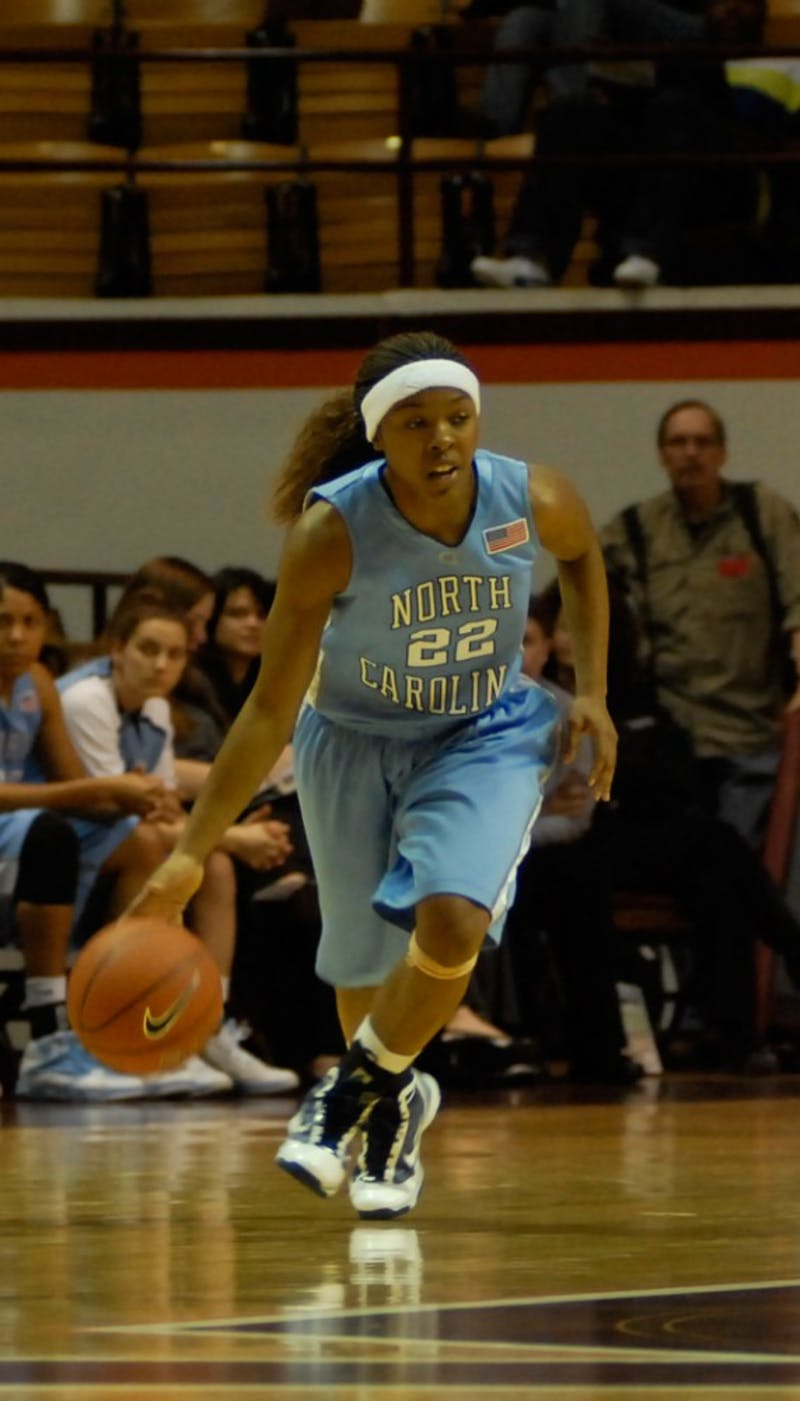 UNC's Cetera DeGraffenreid (22) struggled against the Hokies, scoring only five points on 1-11 shooting. She turned the ball ove
