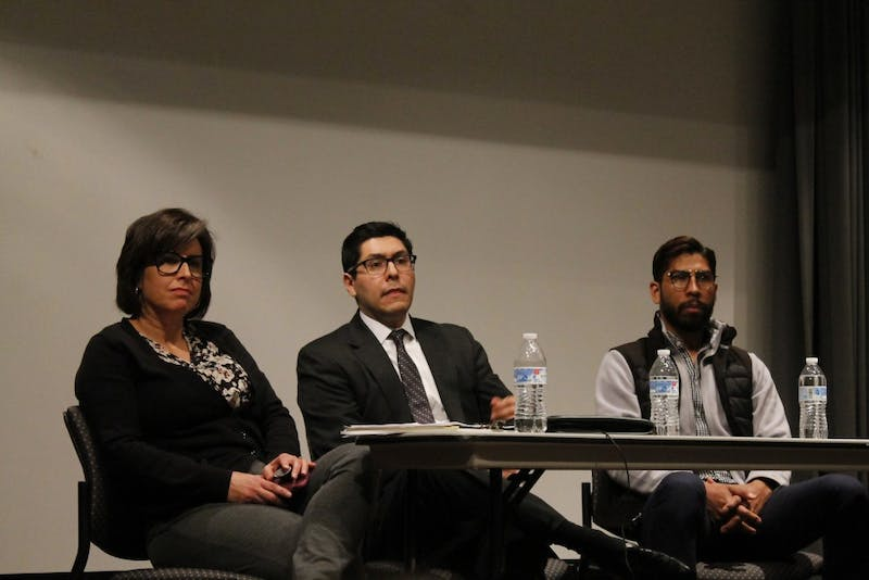 (From left to right) Victoria Romero, Raul Pinto and Ricardo García Lopez conclude the Immigration Overview Panel and Teach-In by answering questions of attendees of the event at the UNC School of Social Work on Monday, Feb. 18, 2019.