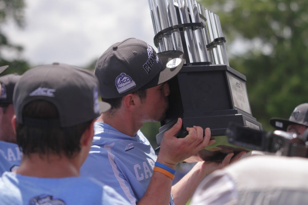 <p>With a 14-10 win over Notre Dame on Sunday afternoon to win the ACC Championship, UNC collected the program's ninth conference championship. It was one of three conference championships UNC won on Sunday.</p>