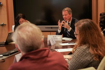 Interim Chancellor Kevin Guskiewicz met with the Chancellor's Advisory Council to discuss recent developments, including the upcoming strategic plan, Carolina Next: Innovations for Public Good on Wednesday, October 30, 2019.